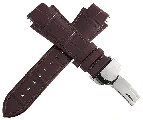 Icelink Herren Braun Echtes Leder Uhrenarmband W/Edelstahl Faltschließe 17mm