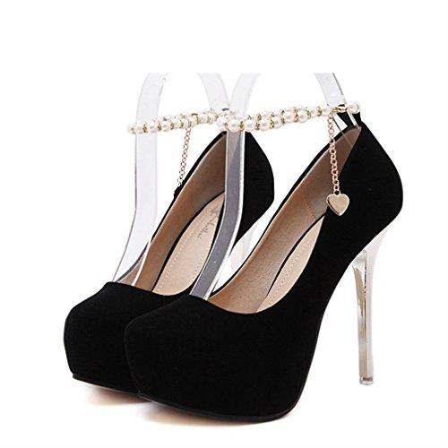 Xianshu Sexy Pearl Chain Waterproof High Heels Suede Shoes(Black-39)