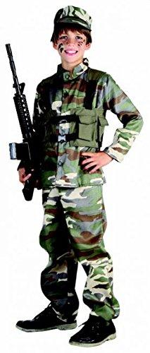 Gefährlicher Soldat Kinderkostüm Militär grün-braun 140/152 (10-12 - Kostüm Kinder Soldat
