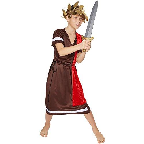 TecTake dressforfun Jungen Kostüm römischer Kaiser | inkl. Elastischem Haarband in Lorbeerkranz-Optik + Kordel als Gürtel (12-14 Jahre | Nr. - Römisches Kostüm Für Jungen