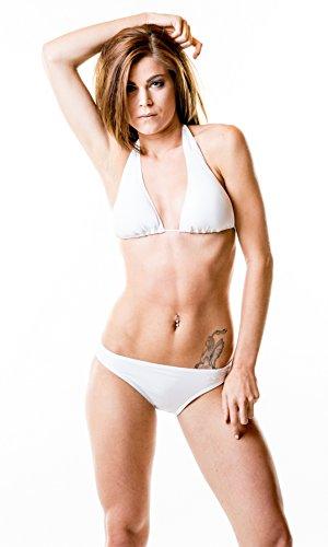 Bikini triangolo - Le donne spingono verso l'alto due pezzi Bikini con la parte superiore del bikini e slip - di ROCK-IT - Incl Wetbag gratuito- Turchese Brown blu scuro nero arancione e bianco Bianco