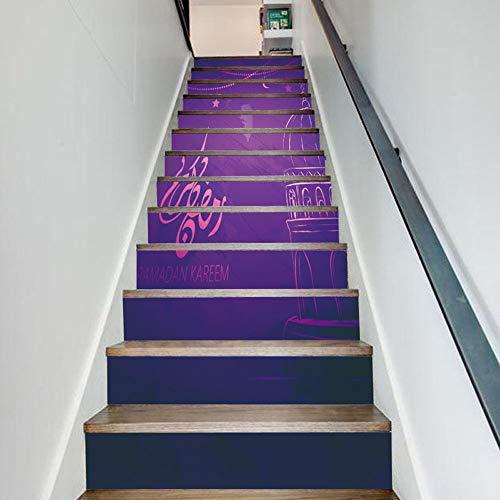 (XUE Treppen Aufkleber Eid Al-Adha Dekoration Halloween Castle Ghost Treppen kreative Wandaufkleber Aufkleber Tapete Wandbilder Kunst Dekor Wandtuch)