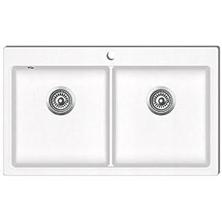41yjcB3fhAL. SS324  - vidaXL Fregadero encastrable de granito blanco crema de dos cubetas lavabos baño