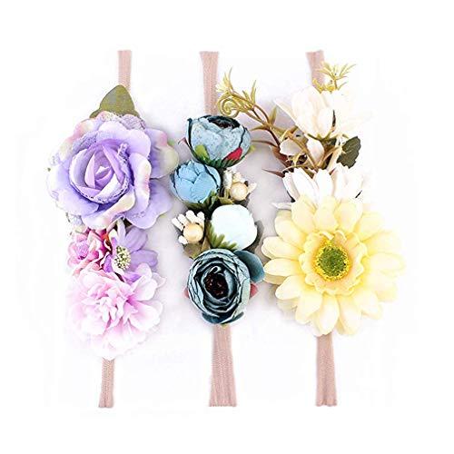 r Blumen Krone ELASTISCH Blumen Stirnband Baby Mädchen Blumenmuster Krone Kranz Neugeborenes Haarzubehör Party Versorgungen - 3 Farben Packung - C, One Size ()
