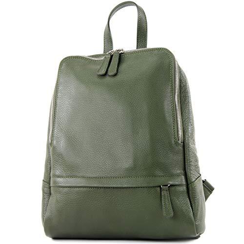 modamoda de - T138 - ital Damen Rucksacktasche aus Leder, Farbe:Olivgrün