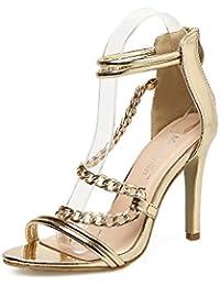 ZHZNVX Stilvolle Sandalen die Gitter mit Reinem Gold Kette Sexy und Stilvoll mit Sandalen die Gitter Gold 39...