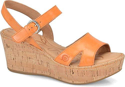 B.O.C. Frauen Flache Sandalen Orange Groesse 10 US /41.5 EU Cork Wrap Wedge