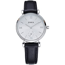 ZHHA Women's S001 Classic Quartz Wristwatch Stainless Steel Watch with Black Strap