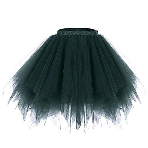 bridesmay Tutu Damenrock Tüllrock 50er Kurz Ballet Tanzkleid Unterkleid Cosplay Crinoline Petticoat für Rockabilly Kleid Dark-Green ()