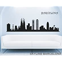 Vinilo decorativo adhesivo para pared SKYLINE BARCELONA para decoración comedor o salón (120_x_31_cm)