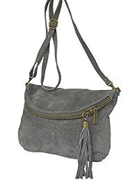 Cuir Messenger / sac à bandoulière de real. Velours / suede, Minibag, Italy