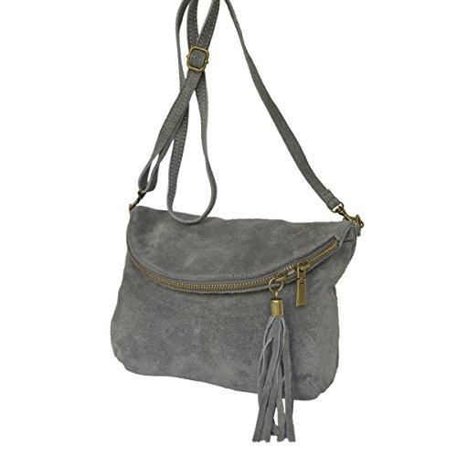 Leder- Messenger- / Umhängetasche Tasche aus echt.Velour-/ Wildleder , Minibag Italy grau