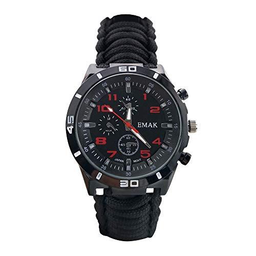 Mode Draussen Überleben Herrenuhren - Paracord Seil Hand-Woven Armband Multifunktion mit Militär Kompass Thermometer Armbanduhren für Herren, Schwarz -