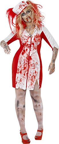 Blutige Zombie Krankenschwester Halloween Plus Size Damenkostüm rot-weiss XXL (Plus Size Krankenschwester Kostüme)