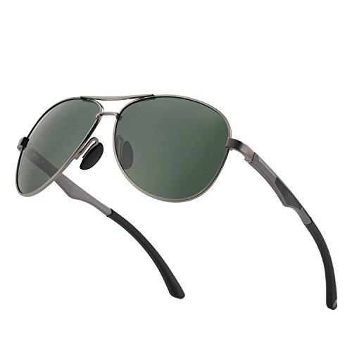 CGID GA61 Occhiali da Sole Premium Lega Al-Mg Aviator Polarizzati UV400, Completamente a Specchio Cardini a Molla Occhiali da Sole per Uomo Donna