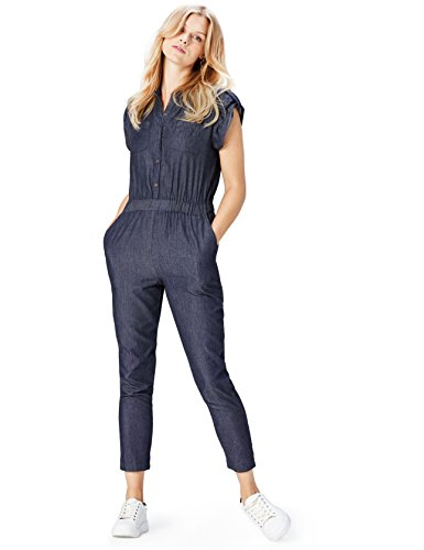 Damen Jumpsuit Demin, Blau (Blue)