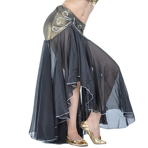 on Fischschwanz Bauchtanz Langer Rock Unregelmäßiger Eleganter Beruflicher Arabischer Orientalischer Tanz Stammes Fusion Röcke Kostüm Schwarz (Berufliche Kostüme)
