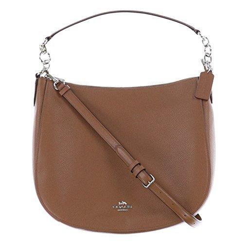 COACH Women's Polished Pebbled Leather Chelsea 32 Hobo Sv/Saddle Handbag