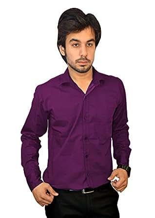 Mc-John Men's Slim Fit Formal Solid Dark Purple Color Cotton Blend Dress Shirt XXL
