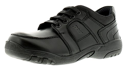 Pod Boys Leather Sturdy School Shoes With Lace Tie Fastening - Black - UK Size 2