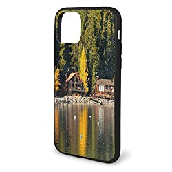 "DIMAA Shockproof Phone Case Compatible with iPhone 11 Pro max 6.5"" Series 2019, Carnelian Bay Photography Log Cabin In The Woods Holiday Destination Lakeside"