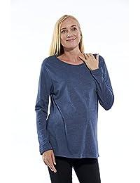 Motherway - Camiseta de manga larga - Básico - Cuello redondo - para mujer