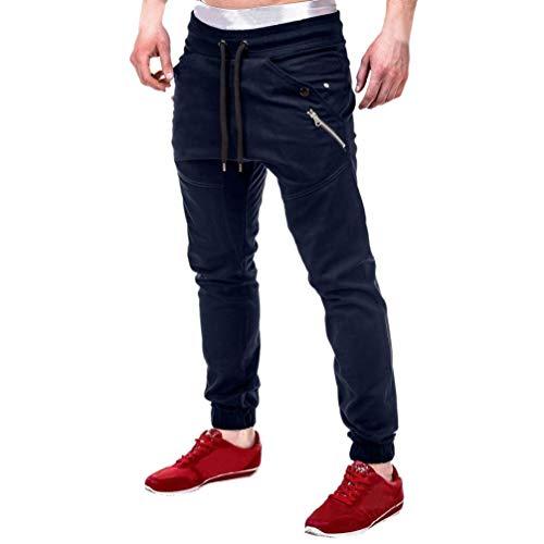 Da uomo casual sport jogger pantaloni tasche cargo pantaloni zip palestra fitness pantaloni sportivi slim fit pantaloni chino xl marina militare