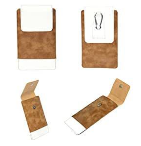 J Cover A14 F Nillofer Series Leather Pouch Holster Case For Micromax Q2+ Tan White