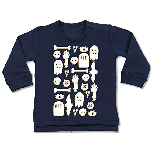 Shirtracer Anlässe Baby - Halloween Totenkopf Mosaik - 6-12 Monate - Navy Blau - BZ31 - Baby Pullover
