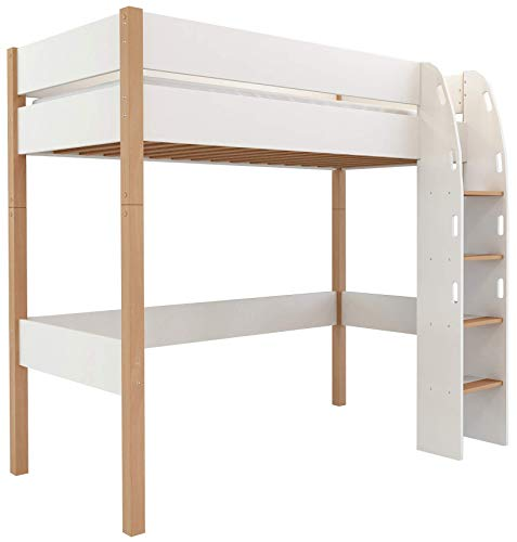 Lit surélevé d'enfants, Lit mezzanine d'enfants 90x200 avec sommier à lattes et protection antichute, surface allongée 90 x 200 cm, en MDF et hêtre (Blanc, Haut)