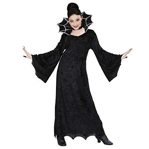 Spiderella'kostüm Kinder - Widmann 41117 - Kinderkostüm Hexe, Samtkleid mit großem Stehkragen und Halsband, Größe 140