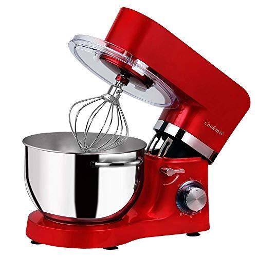 Cookmii 1500W Robot pâtissier, Robot pétrin, Robot mélangeur, Pétrisseur, Robot de cuisine multifonction Faible bruit avec Bol en Acier inox de 5.5L, Couvercle, Batteur, Fouet & Crochet Rouge