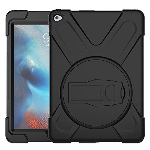 Asnlove iPad Air 2 Hülle, 360 Grad Drehbare Robustes Kunststoff Hard Case mit Displayschutz - Ausklappbarer Standfuss für Apple iPad 6 - Schwarz Robustes Hard Case