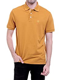 CHKOKKO Cotton Polo Neck Half Sleeve Plain T Shirt For Men