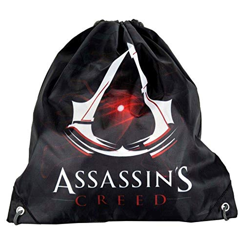 P A S O Kinder Turnbeutel/SPORTBEUTEL 36x32 cm - Assassin's Creed - SCHWARZ/ROT