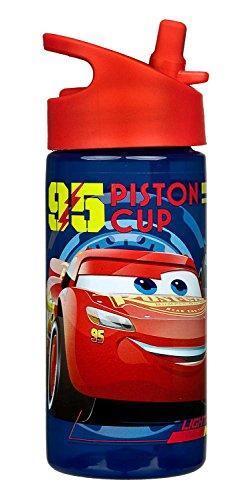 Scooli CAAD9914 - Aero Sportflasche aus Kunststoff mit integriertem Strohhalm, BPA und Phthalat frei, Disney Pixar Cars, ca. 400 ml