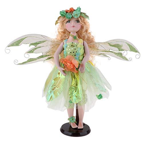 FLAMEER Viktorianische Engel Prinzessin Puppen Porzellanpuppe Keramik Mädchen Puppe im Kleidung, Höhe: 40 cm - Grün