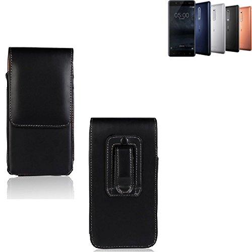 K-S-Trade Für Nokia 5 Dual-SIM Gürtel Tasche Gürteltasche Schutzhülle Handy Tasche Schutz Hülle Handytasche Smartphone Case Seitentasche Vertikaltasche Etui Belt Bag schwarz für Nokia 5 Dual-SIM