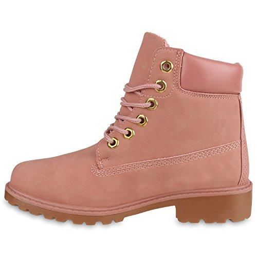 Damen Stiefeletten Camouflage Outdoor Worker Boots Schnürstiefel Rosa
