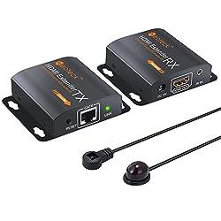Neoteck HDMI Extender mit IR Verlängerung 60M HDMI Repeater 1080P 3D HDMI Ethernet Netzwerk Extender über einziges RJ45 Cat6 Cat7 Kabel für PC DVD Sky HD Box PS3 PS4 Satellite Box usw