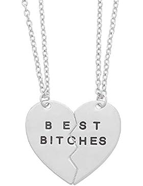 MJARTORIA Damen Halskette Silber Farbe Kette mit Gravur Best Bitches Initial Herz Anhänger Freundschaftsketten...