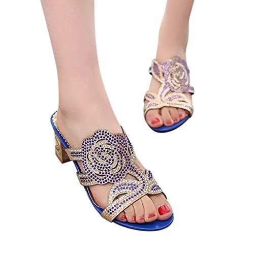 NDGDA Damen Strass-Sandalen Casual Kristall Outdoor Hausschuhe Quadratische Absatz Schuhe Blume Sandalen Casual Strass