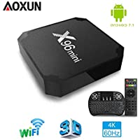 Android TV Box - Smart TV Box Quad Core X96 Mini Android TV Box Amlogic 7.1 S905W 2G RAM 16G ROM H.265 64 bit WiFi de Aoxun