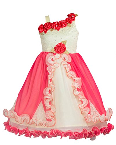 My-Lil-Princess-Cute-Pretty-Kids-Baby-Girls-Fairy-Frock-Dresses-for-Birthday-Party-Festivals-and-Special-Functional-Wear-Size-2-7Years-Red-Floral-Stars