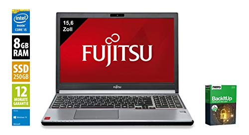 Fujitsu Lifebook E754   Notebook   Laptop   15,6 Zoll (1366x768)   Intel Core i5-4300M @ 2,6 GHz   8GB DDR3 RAM   250GB SSD   Windows 10 Home (Zertifiziert und Generalüberholt) Lifebook Laptop-notebooks