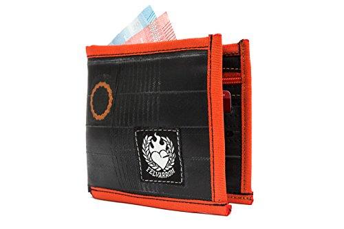 Vegane Geldbörse, Vegetarische Geldbörse Für Männer   Brieftasche Mit Reißverschluss   Münztasche Mit Reißverschluss   4 Kartenfächer   Aus Recyceltem Fahrradschlauch   Orange