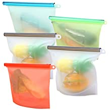 5 Piezas Bolsa Reutilizable de Silicona para Alimentos, Bolsa de Almacenamiento Preservación de Alimento Hermética