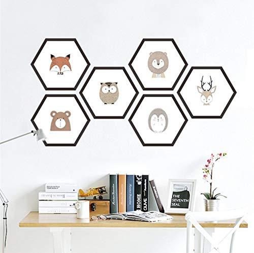 ox Wandaufkleber Für Kinderzimmer Wohnkultur Zubehör Hexagon Photo Frame Wandtattoos Pvc Wandbild Art35X67Cm ()