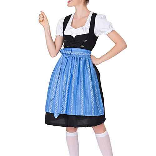 Andouy Damen Oktoberfest Midi Trachtenkleid Cosplay Kostüme Kleid, Oberteile, Schürze(3XL(44).Blau-Druck)