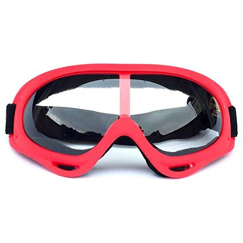 CXJ Motocross-Brille Motorradbrillen Winddicht Staubdicht Dirt Bike Goggles Wickeln Sie Reitbrillen Schützende Sicherheit Off Road Goggles,Red-TransparentLens